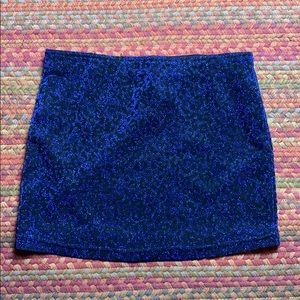 COBALT BLUE CHEETAH PRINT MINI SKIRT